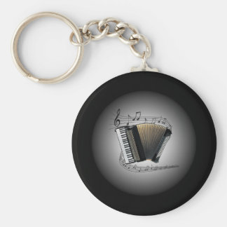 Accordion ~  Musical Globe ~ Musical Scale ~ Basic Round Button Keychain
