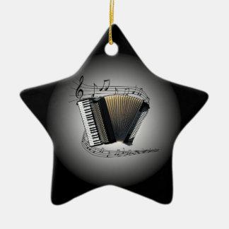 Accordion ~  Musical Globe ~ Musical Scale ~ Ceramic Star Ornament