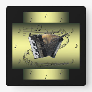 Accordion~ Musical Swirl ~ Notes ~ * ~ Square Wall Clock