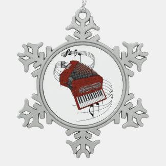 Accordion Pewter Snowflake Ornament