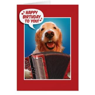 Accordion-Playing Golden Retriever Birthday Card