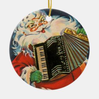 Accordion Santa Round Ceramic Ornament