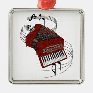 Accordion Silver-Colored Square Ornament