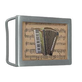 Accordion With Sheet Music Background Rectangular Belt Buckle