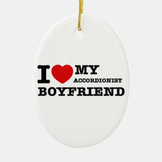 Accordionist Boyfriend Designs Ceramic Oval Ornament