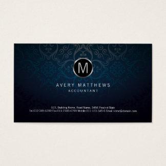 Accountant Elegant Circle Monogram Dark Damask Business Card
