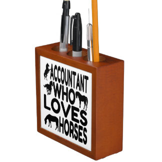 Accountant Who Loves Horses Desk Organizers