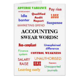 Accounting Swear Words! Accountant Joke Greeting Card