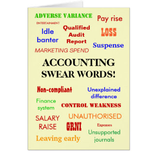 Accounting Swear Words! Blank Greeting Greeting Card
