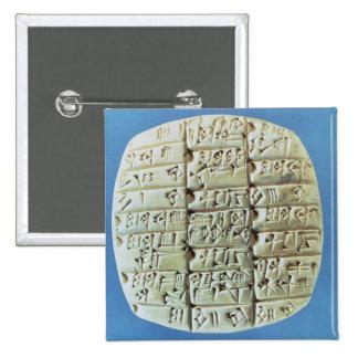 Accounts Table with cuneiform script, c.2400 BC (t 2 Inch Square Button