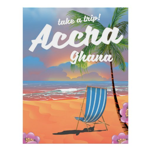 Accra Ghana beach travel poster