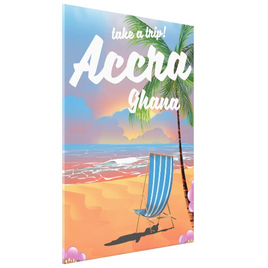 Accra Ghana beach travel poster Canvas Print