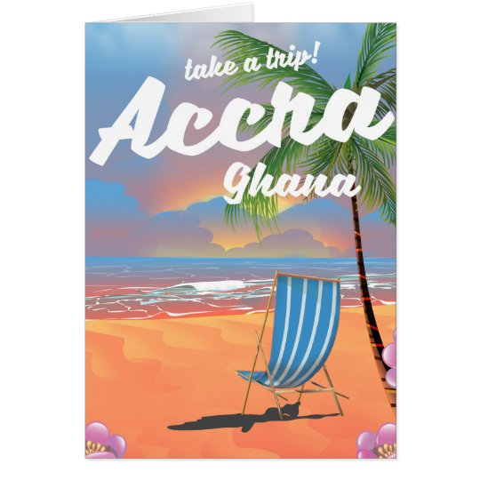 Accra Ghana beach travel poster Card