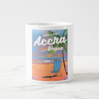 Accra Ghana beach travel poster Large Coffee Mug