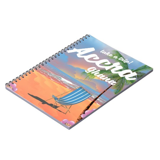 Accra Ghana beach travel poster Notebook