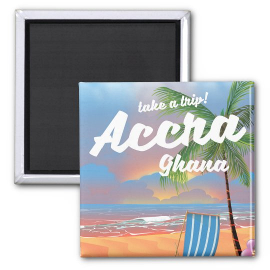 Accra Ghana beach travel poster Square Magnet