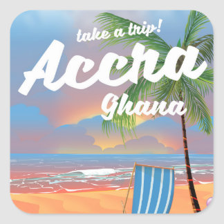 Accra Ghana beach travel poster Square Sticker
