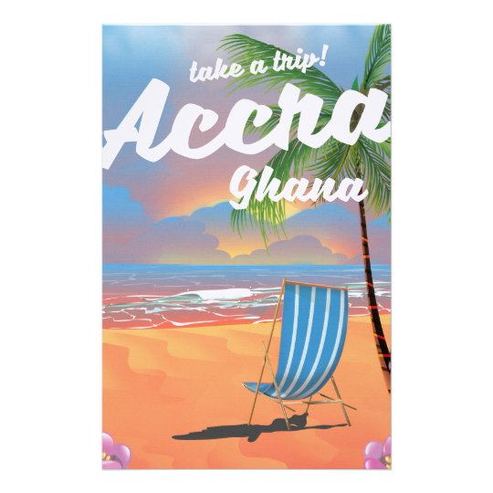 Accra Ghana beach travel poster Stationery