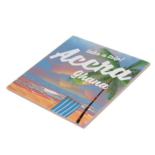 Accra Ghana beach travel poster Tiles