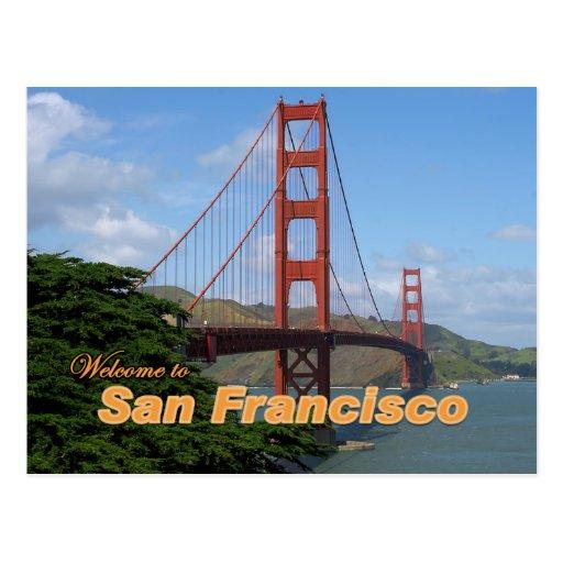 Accueil à San Francisco - golden gate bridge Carte Postale