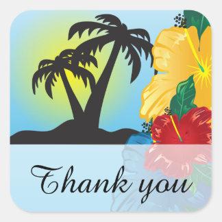 Accueil à un beau paradis tropical sticker carré