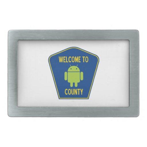 Accueil au signe androïde du comté (de Bugdroid) Boucle De Ceinture Rectangulaire