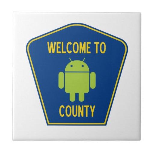 Accueil au signe androïde du comté (de Bugdroid) Carreaux En Céramique