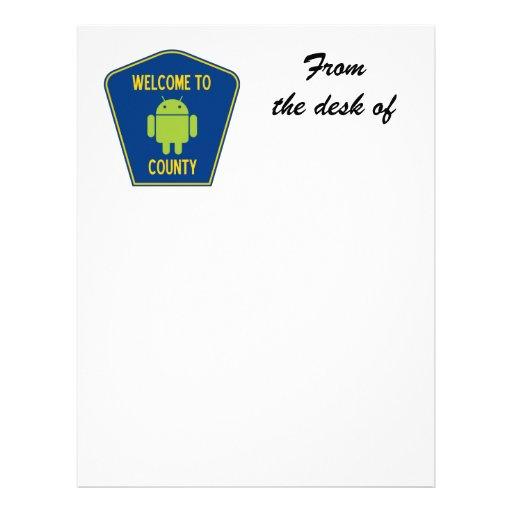 Accueil au signe androïde du comté (de Bugdroid) En-tête De Lettre