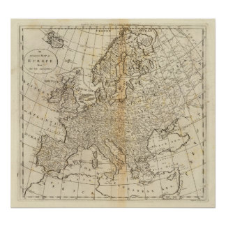 Accurate Map of Europe Poster