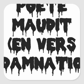 Accursed poet (IN WORMS AND DAMNATION) - Word Square Sticker