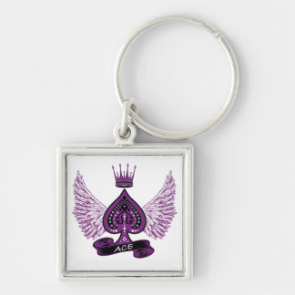 Ace Asexual LGBT Pride Wings and Crown Keychain