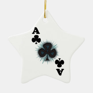 Ace of clubs ceramic ornament