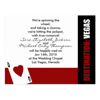 Ace of Hearts Destination Vegas Wedding Invitation Postcard