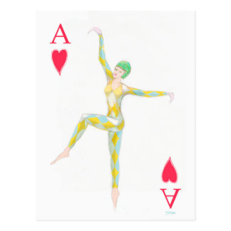 ace of hearts vintage art deco style playing card