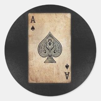 Ace of Spades Round Sticker