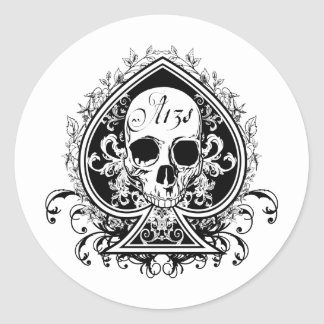 Ace Skull Round Sticker