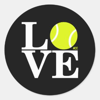 Ace Tennis LOVE Round Sticker