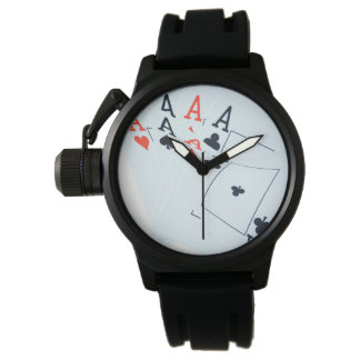Aces_All_In_Poker_Mens_Rubber_Back_Watch Watches