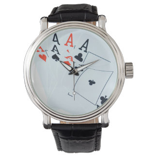 Aces_All_In_Poker_Mens_Vintage_Leather_Watch Watches