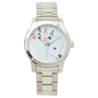 Aces_All_In_Poker_Unisex_Large_Silver_Watch Wrist Watches