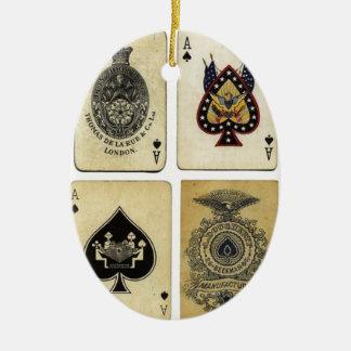 aces of spades vintage ceramic ornament