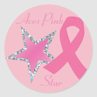 Aces Pink Ribbon Star Sticker