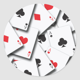 ACES PLAYING CARDS CLASSIC ROUND STICKER