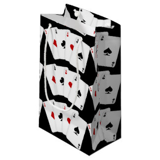 Aces Playing cards tiled gambling small gift bag