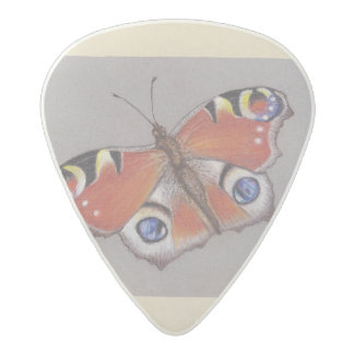 Acetal Guitar Pick with Peacock Butterfly Design