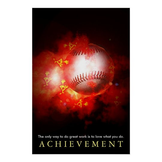 Achievement Motivational Flaming Baseball Poster