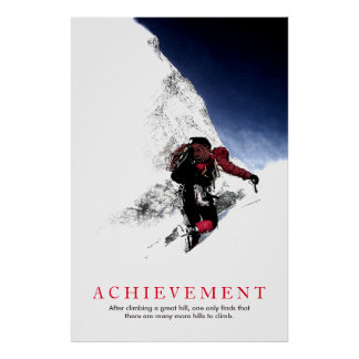 Achievement Quote Mountaineer at Top Poster