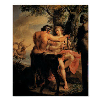 Achilles and the Centaur Chiron Poster