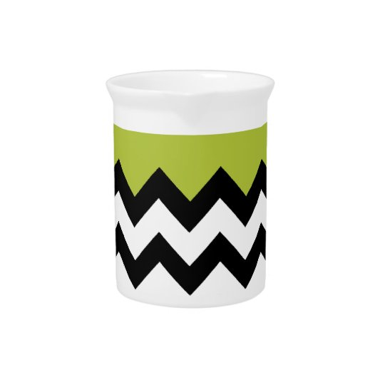 Acid Apple Green And Black & White Zigzag Chevron Pitcher