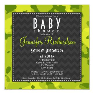Acid Green Camo Baby Shower Invitation